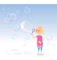 Girl with soap bubbles vector image
