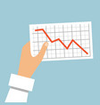 hand holds a graph going down vector image vector image