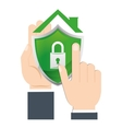 hand holds shield home security vector image