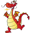 Happy Red Dragon Cartoon Character vector image