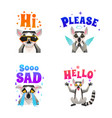 lemur emotions polygonal icons set vector image vector image