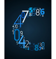 Letter C font from numbers vector image vector image