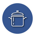 line icon of stew pan with shadow eps 10 vector image vector image