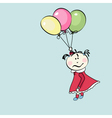 little girl flying with the balloons vector image vector image