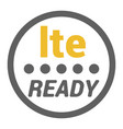 lte sticker with ready word and signal level dots vector image vector image