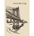 Manhattan bridge New York United States sketch vector image vector image