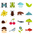 nature items set flat icons vector image vector image