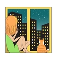 Night city and girl with cat vector image