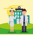 nurse and doctor staff medical team hospital vector image vector image