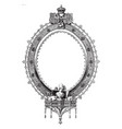 ornate oval frame is a scrollwork and symbols of vector image vector image