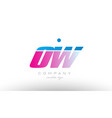 ow o w alphabet letter combination pink blue bold vector image vector image
