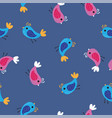 pink and blue birds pattern background seamless vector image