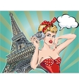 Pop Art Fashion woman near Eiffel vector image vector image