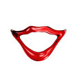red glossy sexy female lips isolated on a light vector image