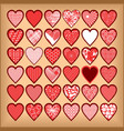 red hearts on a beige background vector image vector image