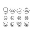 set of down syndrome kid icon in linear style vector image vector image