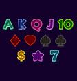 set slot machine icons gaming icons card vector image