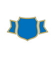 shield blue icon gold outline shield golden vector image