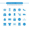 shopping and ecommerce icons set blue vector image