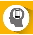 silhouette head with smartphone technology icon vector image
