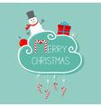 Snowman giftbox snowflake ball Merry Christmas vector image vector image