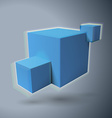 Three 3D cubes logo with aberrations vector image