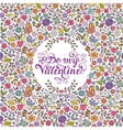 Valentines card with heartsbutterfliesflowers vector image