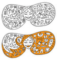 woman giving birth babefore and after icons vector image vector image