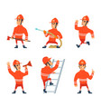 fireman on the work different action poses vector image