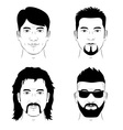 set of man faces vector image