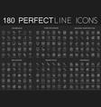 180 modern thin line icons set on dark black vector image
