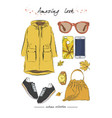 a set of autumn outfit with accessories parka vector image