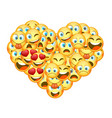 a set of emoticons shaped as heart vector image vector image