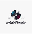 audio paradise logo design with tropical theme cd vector image vector image