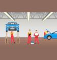auto service in spacious garage banner vector image