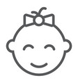 baby girl line icon kid and child vector image vector image