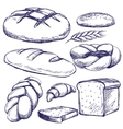 bakery set hand drawn sketch vector image