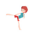 boy practicing capoeira movement kid character vector image vector image