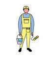 builder character roller paint and bucket vector image