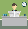 Businessman reading newspaper in office vector image