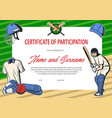 certificate participation in cricket tournament vector image vector image
