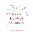 Concept of a large birthday cake with a candle and vector image vector image