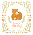 Cute little bear summer vector image vector image