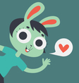 Cute Lover Bunny Girl Showing on Screen vector image