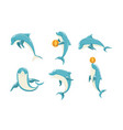 funny blue dolphins set cute ocean mammals vector image vector image