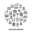germany sign round design template thin line icon vector image vector image