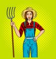 girl farmer with pitchfork pop art vector image vector image