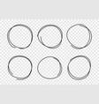 hand drawn circle frame set vector image vector image