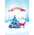 holiday banner santa claus standing at christmas vector image