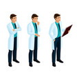 isometrics medical workers a doctor vector image vector image